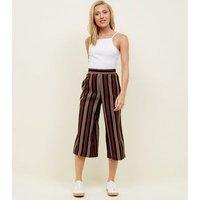 Petite Black and Rust Stripe Crop Wide Leg Trousers New Look