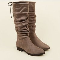 Grey Suedette Slouchy Knee High Boots New Look