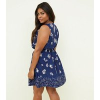 Curves Blue Floral Sleeveless Dress New Look