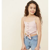 Teens Pale Pink Ribbed Tie Front Cami New Look