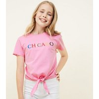Teens Pink Chicago Embroidered Tie Front T-Shirt New Look