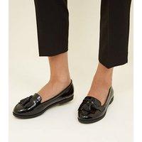 Black Patent Tassel Fringe Trim Loafers New Look