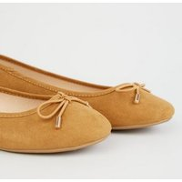 Tan Suedette Bow Front Ballet Pumps New Look