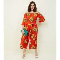 Curves Orange Floral Bardot Neck Culotte Jumpsuit New Look