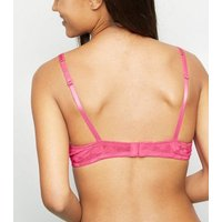 Mid Pink Lace Push-Up Bra New Look