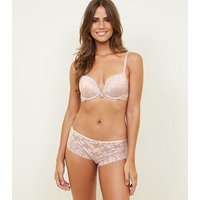 Pale Pink Lace Brazilian Briefs New Look