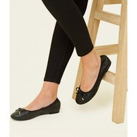Wide Fit Black Bow Front Elasticated Ballet Pumps New Look