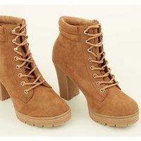 Wide Fit Tan Suedette Block Heel Hiker Boots New Look