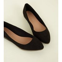 Wide Fit Black Piped Edge Pointed Pumps New Look