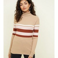 Camel Ribbed Stripe Roll Neck Top New Look