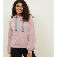 Pale Pink Fine Knit Chenille Hoodie New Look