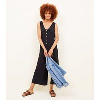 Black Ribbed Button Through Jumpsuit New Look