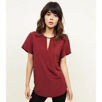 Burgundy Metal Trim Choker Neck Top New Look