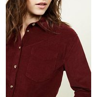 Burgundy Corduroy Long Sleeve Collared Shirt New Look