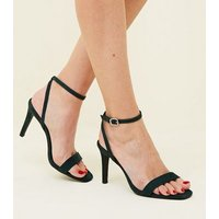 Light Green Suedette Heeled Sandals New Look