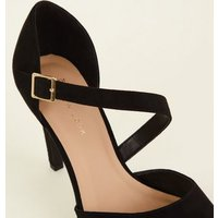 Wide Fit Black Asymmetric Strap Courts New Look