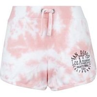 Teens Coral Tie Dye Jersey Shorts New Look