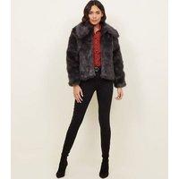 Dark Grey Collared Faux Fur Jacket New Look