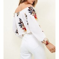 Cameo Rose White Floral Tie Front Bardot Crop Top New Look