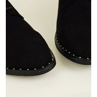 Black Suedette Studded Lace-Up Shoes New Look