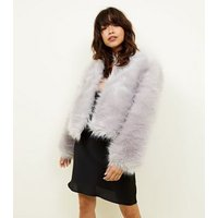 Pale Grey Faux Fur Cropped Collarless Jacket New Look