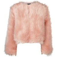 Mid Pink Faux Fur Cropped Collarless Jacket New Look
