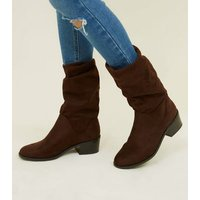 Girls Rust Suedette Slouch Calf Boots New Look