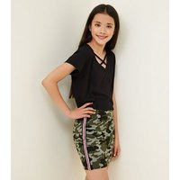 Teens Green Camo Stripe Side Tube Skirt New Look