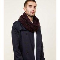 Mens Burgundy Chevron Loop Knit Snood New Look