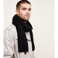Black Chenille Scarf New Look