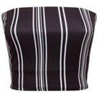 Black Stripe Crepe Bandeau New Look