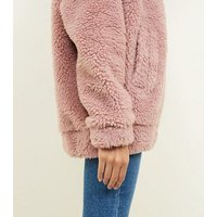 Pink Faux Teddy Fur Bomber Jacket New Look