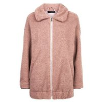 Pale Pink Faux Teddy Fur Bomber Jacket New Look