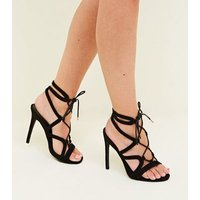 Black Suedette Strappy Lace Up Stiletto Heels New Look