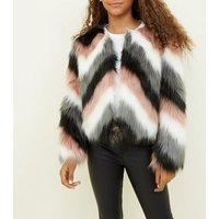Girls Black Chevron Faux Fur Jacket New Look