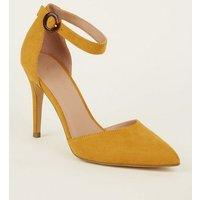Mustard Suedette Buckle Strap Heels New Look