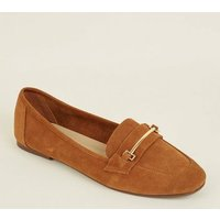 Tan Suede Front Bar Loafers New Look
