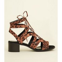 Stone Leopard Print Lace Up Ghillie Sandals New Look