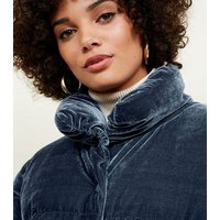 Blue Vanilla Blue Velvet Ruched Puffer Jacket New Look