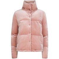Blue Vanilla Pink Velvet Ruched Puffer Jacket New Look