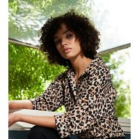 Cameo Rose Brown Leopard Print Tie Front Blouse New Look