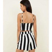 Cameo Rose Black Stripe Tie Waist Shorts New Look