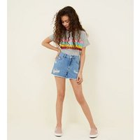 Teens Pale Blue Denim Shorts New Look
