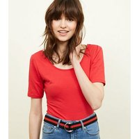Red Stripe Woven Double D Ring Belt New Look