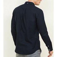 Navy Cotton Long Sleeve Oxford Shirt New Look