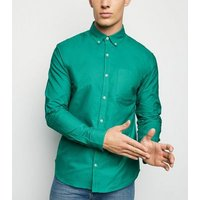 Mens Teal Cotton Long Sleeve Oxford Shirt New Look