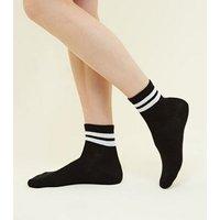 Black Ribbed Sport Stripe Socks New Look