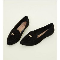 Girls Black Suedette Pointed Front Tassel Loafers New Look