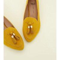Girls  Mustard Suedette Pointed Tassel Loafers New Look