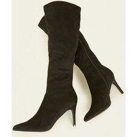Black Suedette Stiletto Knee High Slim Leg Boots New Look